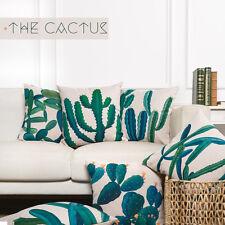 "Green Cactus Leaves Plants Linen Pillow Case Decorative Cushion Cover 18""x18"""