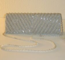 Adrianna Papell Noreen Chevron Beaded Silver Small Flap Clutch Shoulder Bag $92