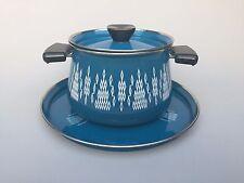 Vintage MCM enamelware pot lid and tray Blue Unique Fondue Catherineholm style
