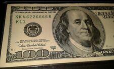 $100.00 Fancy serial #KKK46226666 B note. Five 6 in note