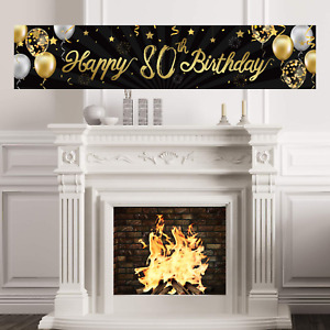 Happy 80th Birthday Banner Sign Gold Glitter 80 Years Birthday Party Decorations