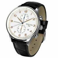 HOLUNS Mens Date Chronograph Leather Band Waterproof Luxury Quartz Wrist Watch