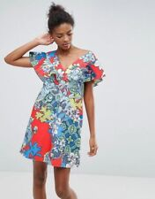 c07100393a7 ASOS Structured Ruffle Shift Dress in Floral   Tile Print Multicolour Size   10