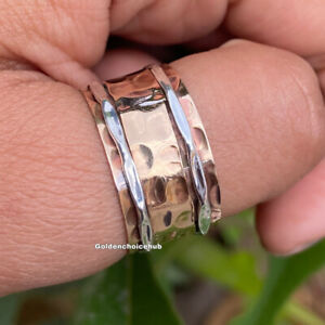 Solid Copper Wide Band Copper & Silver Spinner Ring Handmade Ring All Size- D-12