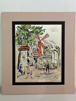 Mid Century Painting on Silk Paris France Street Scene Moulin GOUACHE Signed