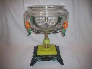 ANTIQUE VINTAGE FISH BOWL TANK AQUARIUM HOLDER ART DECO LIGHT HOUZE GLASS