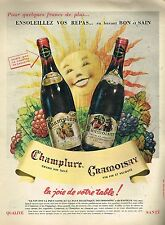 J- Publicité Advertising 1958 Vin Champlure et Cramoisay