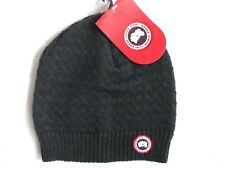 CANADA GOOSE Womens Graphite / Ink Blue MERINO WOOL BEANIE Toque Femme Tag