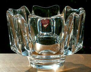 "Orrefors Heavy Crystal Mid Century Modern Glass'CORONA' Vase.Signed Label.5""d."