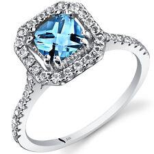 14K White Gold Swiss Blue Topaz Cushion Cut Halo Ring  1.00 Cts Size 7