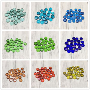 100g Clear Glass Mosaic Tiles Round Flat Beads for Art Craft Decorative Material