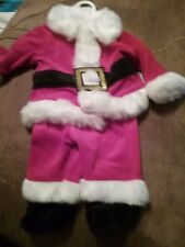 Baby Infant Boys 0-3 Months 2 Piece Velour Santa Suit Holiday Christmas Pictures