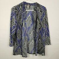 Chicos Travelers WOmens Cardigan Size 1 M Blue Open Front 3/4 Sleeve Stretch