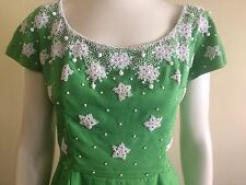 Original Vintage 50s 60s Pinup Beaded CockTail  Party Dress Rockabilly Pinup