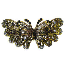 Vintage Style Black Crystal Butterfly Accessory Barrette Clip w/ Gold Metal