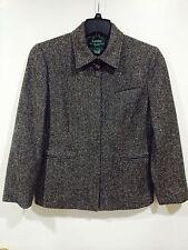 Women's Ralph Lauren Black Grey Herringbone Wool Tweed Full-Zip Jacket Size 12P