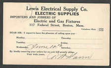 1912 PC BOSTON MA LEWIS ELECTRIC SUPPLY & GAS FIXTURES SALESMAN CALLING CARD