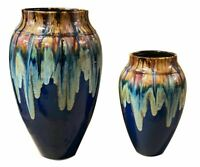 Copper With Blue Glaze Asian Fusion Indoor Outdoor  Planters Vase set of 2