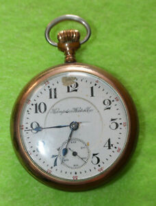 1908 HAMPDEN JOHN HANCOCK 21J 18S 2527858 RAILROAD GRADE OPEN FACE POCKET WATCH