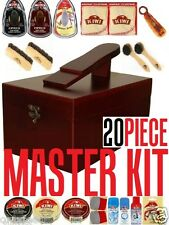 #1 Kiwi Shoe Care MASTER KIT Clean Shine Polish Valet Wooden Box Polish Brushes