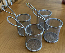 4 x Stainless Steel Mesh Chips French Fries Round Serving Basket