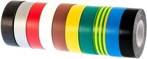 PVC Electrical Insulation Tape, 20m x 19mm, Premium Multi-Colour Adhesive Tape