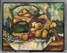 Modern 20th Century American Still Life Fruits and Tea Kettle Oil Painting