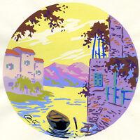 1930s French Pochoir Print Art Deco Old Village View Riverscape Houses Boat