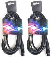 """2x 15ft XLR 3-Pin Female to 1/4"""" Mono Plug Shielded Microphone Mic Audio Cable"""