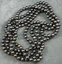PEACOCK SILVER PURPLE Rainbow Freshwater PEARL Knotted Long Strand NECKLACE 72""