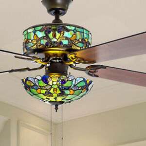 Tiffany Style Stained Glass Green Ceiling Fan 52in Wide - Pull Chain