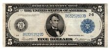 Etats UNIS AMÉRIQUE USA Billet 5 $ Dollars 1914 B NEW YORK 2-B LARGE BON ETAT