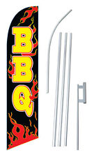 Bbq Banner Flag Sign Display Complete Kit Tall Business Advertising 2.5 Flames
