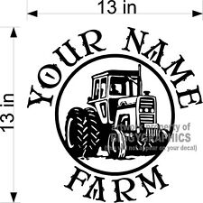 CUSTOM VINYL DECAL YOUR NAME FARM RANCH WITH TRACTOR GRAPHIC  NEW