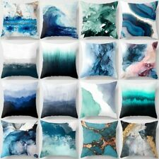 """Throw Pillow Cover Teal Blue Abstract Home Decor Decorative Cushion Case 18x18"""""""
