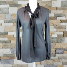 828eb590c7010 Rozae Nichols Womens Sz S Small Tie Neck V Neck Top Blouse Long Sleeve Gray
