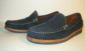 Allen Edmonds Gondoliere Moc Toe Blue Leather Loafers Men 11 D Barely Worn NICE!