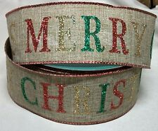 """5 yds. Woven Merry Christmas Glitter Greetings Wire Edge Ribbon 2 1/2"""" Wide"""