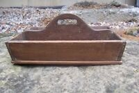 Antique Primitive Cant Sided Wooden Cutlery Tray Knife Tote Box Tray Cut Nails