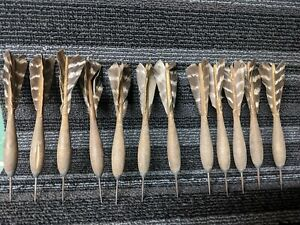 12 Vintage  Feathered Steel Tipped Darts