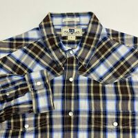 Club Room Pearl Snap Shirt Men's Large Long Sleeve Brown Blue White Plaid Fitted