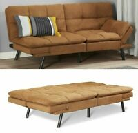 SLEEPER SOFA BED Camel Suede Convertible Couch Modern Living Room Futon Loveseat