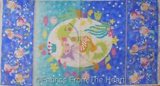 "Mermaid Wishes Fish Turtles Silver Glitter  23x44"" Panel Northcott Cotton Fabric"