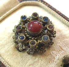 Tiny Antique ART DECO Sweet Czech FILIGREE Amethyst Sapphire Crystal Pin BROOCH