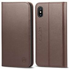 iPhone X Wallet Case Genuine Leather Folio Magnetic Slots KickStand Coffee Brown