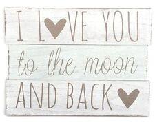 I Love You to the Moon Et Arrière En Bois Panneau Slogan wall sign