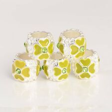5pcs Enamel Yellow Silver Bead Crystal Silver Filled Bead Charm Bracelet/Chain