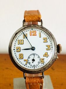 WW1 TRENCH WATCH MILITARY 32mm WRISTWATCH ANTIQUE Working Order Vgc Red 12
