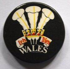 WALES Three Feathers Ich Dien Old Vtg 70/80`s Button Pin Badge 32mm