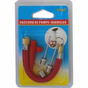 raccord à Pompe+ aiguille vélo grosse valve Ballon foot + Embouts gonflable